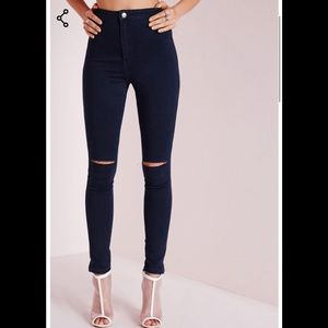 MIssguided Vice Sliced High waisted Jeans sz 8